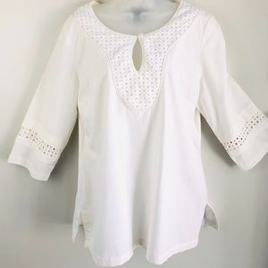 Dana Buchanan Ivory Linen & Cotton Top tunic Large